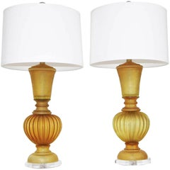 Pair of Marbro Seguso Murano Amber Corroso Table Lamps
