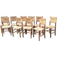 Charlotte Perriand Rare Set of Ten Rush Bauche Chairs