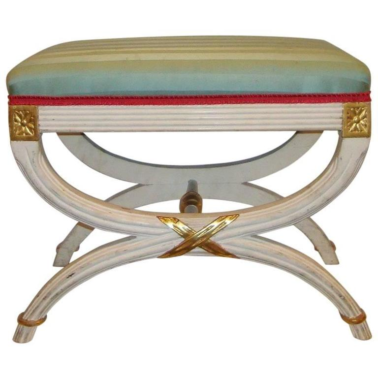 """Hollywood Regency Paint Decorated """"X"""" Form Bench or Footstool"""