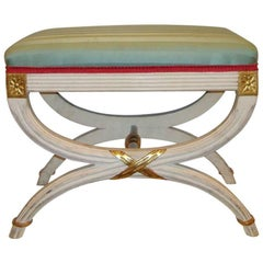 "Hollywood Regency Paint Decorated ""X"" Form Bench or Footstool"