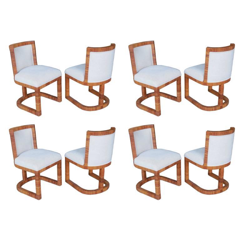 Eight modern italian rattan cane dining chairs 1970s for for Modern rattan dining chairs