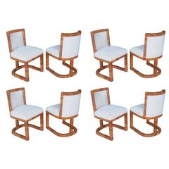 Eight Modern Italian Rattan Cane Dining Chairs, 1970s