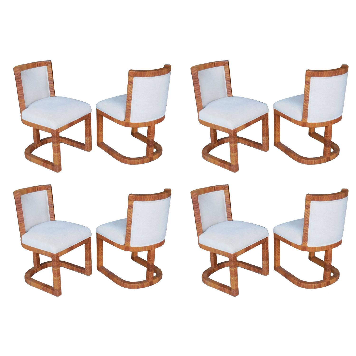 Eight Modern Italian Rattan Cane Dining Chairs 1970s For Sale At 1stdibs