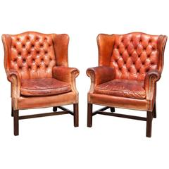 Pair of Fine English Cigar Leather Tufted Wing Chairs