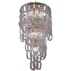 Angelo Mangiarotti Style Chandelier Murano Glass Chain Link, Gilt Frame, Italian