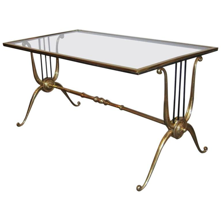 Maison Baguès Bronze Base Glass Top Coffee Table