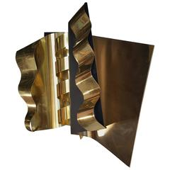 Modernist Abstract Brass and Enamel Wall Sculpture by C. Jere