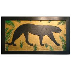 Art Deco Carved Panel Black Panther