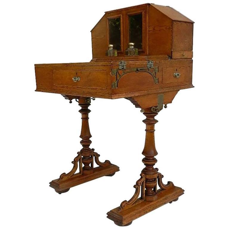 Campaign Desk Davenport Honey Oak Original Inkwells Early 20th Century