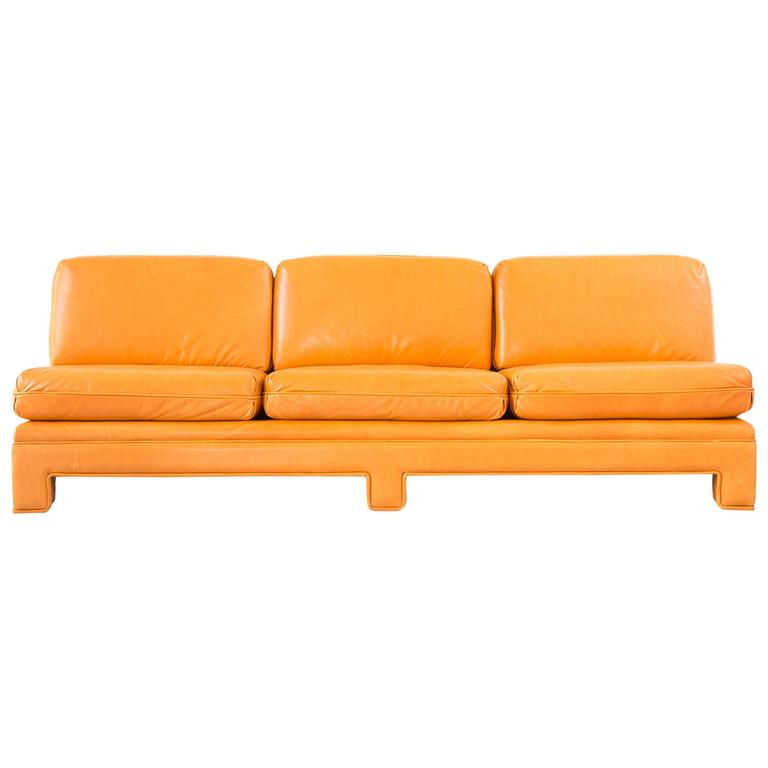 Milo Baughman Chinoiserie Armless Sofa In Tangerine Orange