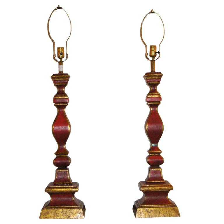 Pair of Italian Column Form Painted Table Lamps