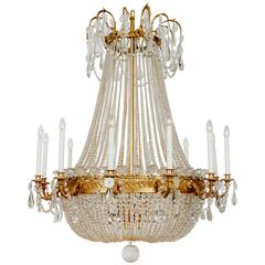 Large French Bronze Empire Glass Chandelier, circa 1880