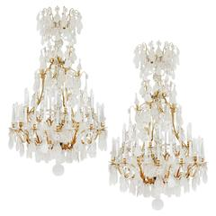 Unique Large Pair of Rock Crystal Classical Louis XV Style Chandeliers