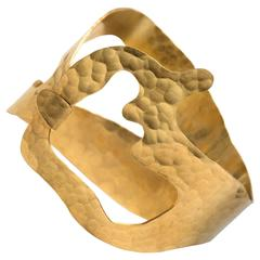 "Bracelet ""Rhea"" Gold-Plated Hand-Hammered by Jacques Jarrige"