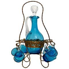 Antique French Blue Glass Liquor or Aperitif Cabaret Set with Ormolu Stand