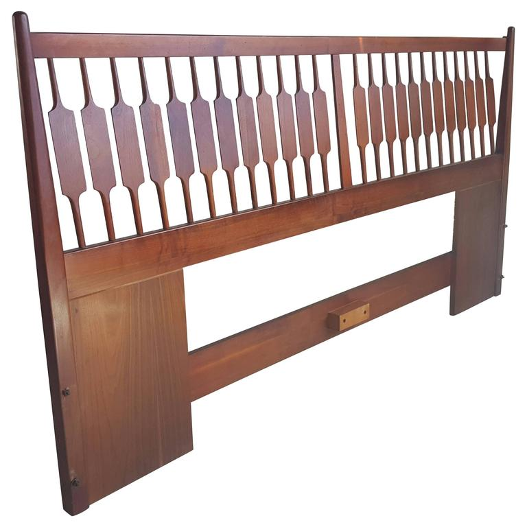 Mid-Century Modern King Bed and Headboard, Kipp Stewart, Drexel Declaration
