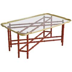 Hollywood Regency Faux Bamboo Tray Top Cocktail Table