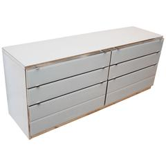 Six-Drawer Double Ello Chrome and Glass Dresser Drawers