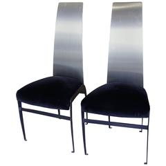 """Mid-Century """"Skinny"""" Stainless Steel, Metal and Velveteen Chairs"""