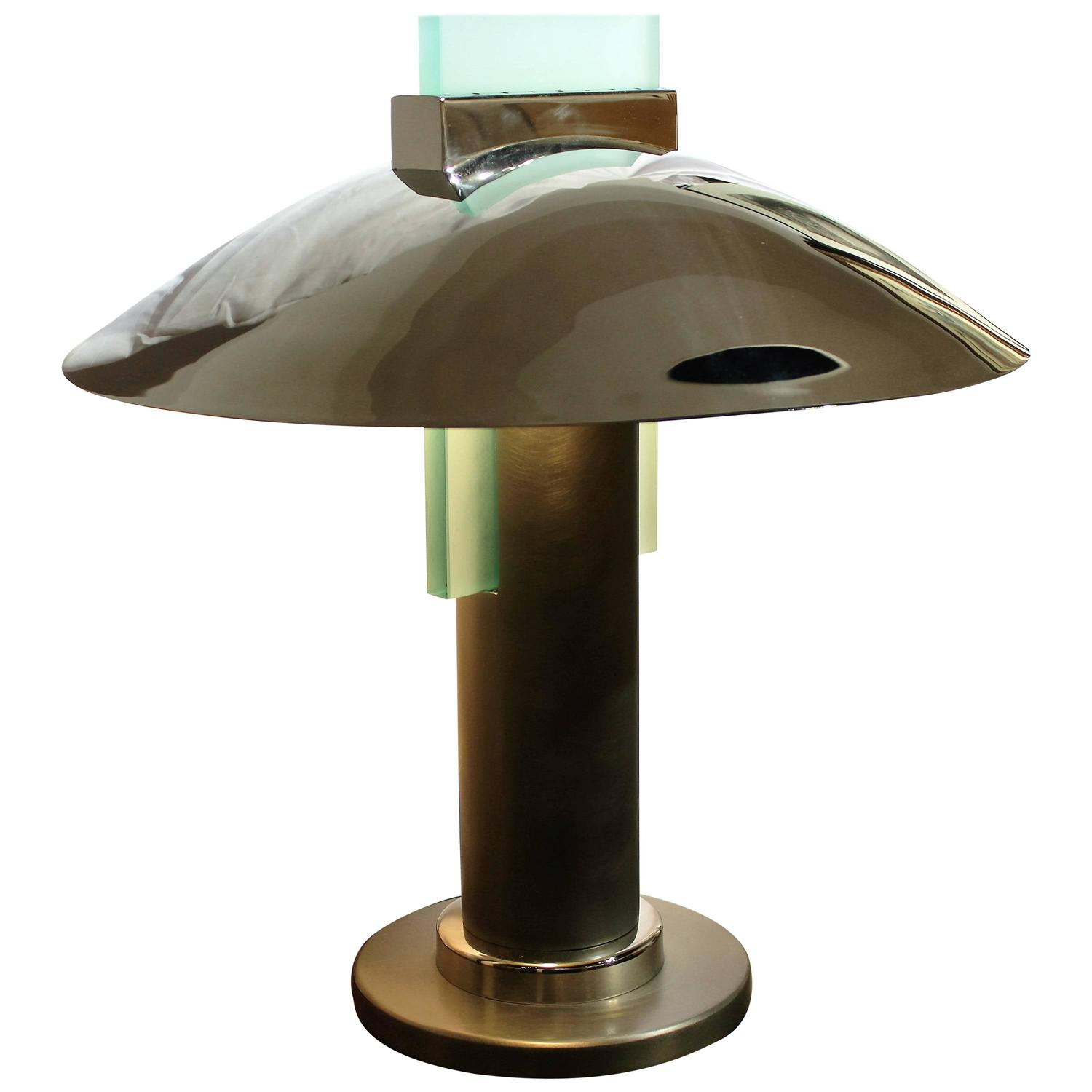 20th century art deco style stainless steel table lamp. Black Bedroom Furniture Sets. Home Design Ideas