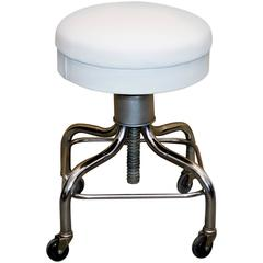 Vintage Pedigo Medical Stool, White Leather