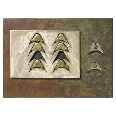 Abstract Bronze and Steel Wall Sculpture by Frank Morbillo