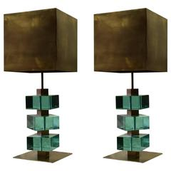 Handsome Pair of Table Lamps in Bronze and Glass