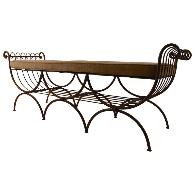 Rare Triple Seat Italian Metal Scroll Arm Bench For Sale At 1stdibs