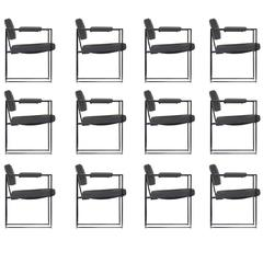 Twelve Thin Line Dining Chairs by Milo Baughman