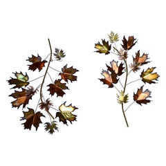 Pair of Curtis Jere Maple Leaf Wall Sculptures