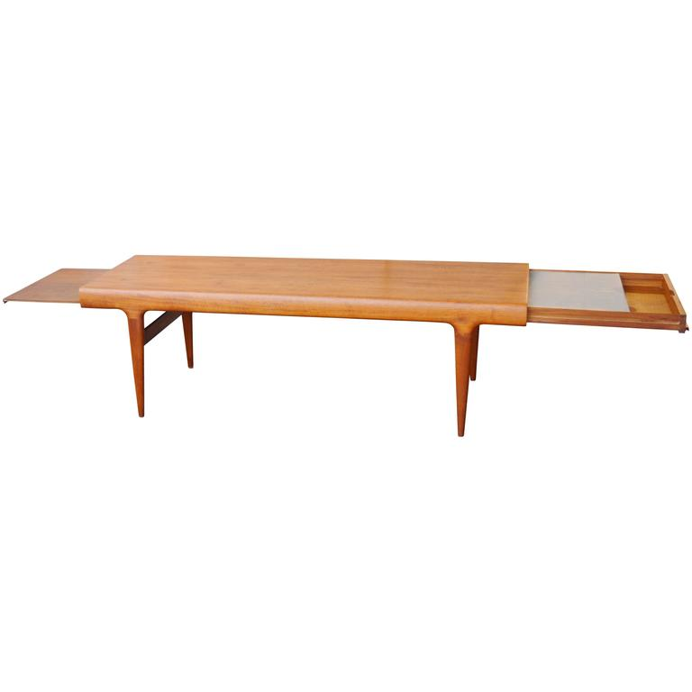 Gorgeous Johannes Andersen Teak Coffee Table With Drawer Tray At 1stdibs