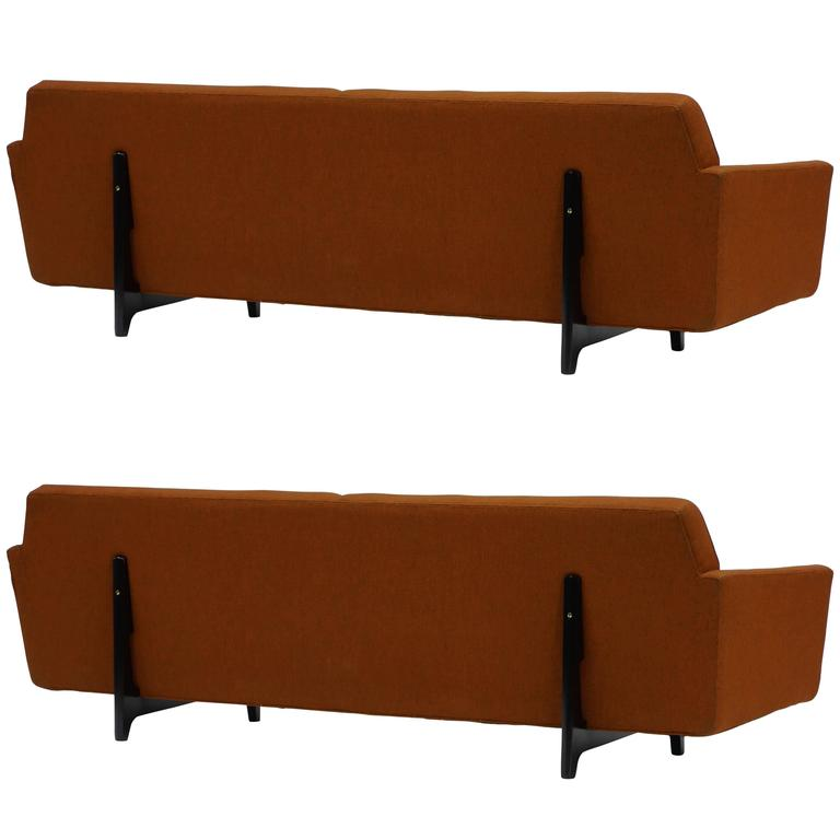 Pair of Bracket Back Sofas by Edward Wormley for Dunbar For Sale