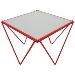 Post-Modern Red Enameled Side or End Table in the Style of Paolo Piva, 1980s