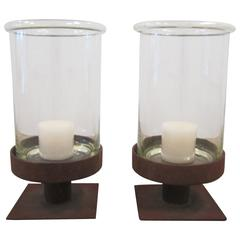 Pair of Modern European Glass and Iron Hurricane Candle Lamps