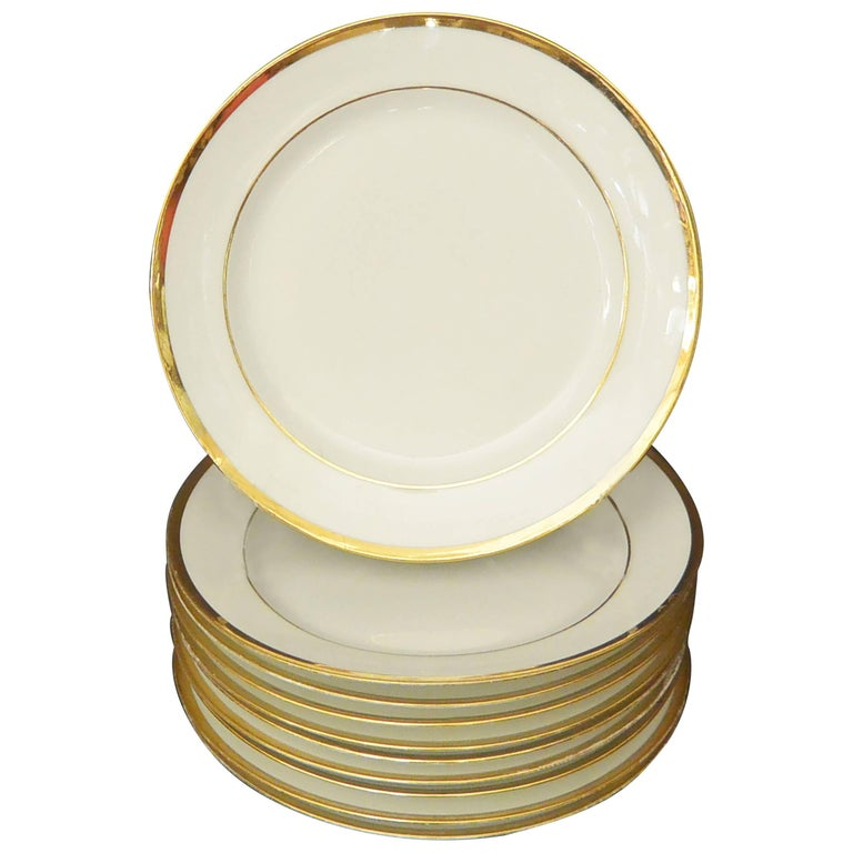 Set of Ten White and Gilt French Empire Plates For Sale