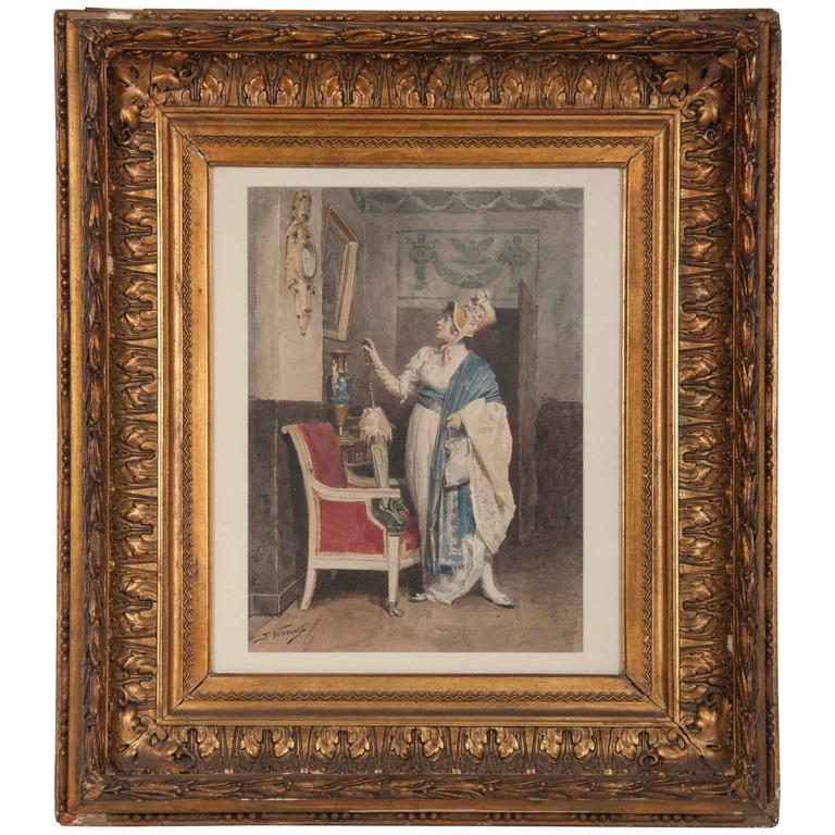 Lady Admiring a Painting by Jules Worms For Sale
