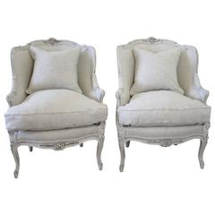 20th Century Antique Painted French Louis XV Style Bergere Chairs in Linen