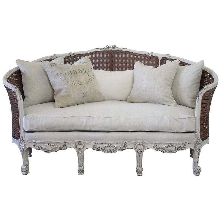 19th Century Antique French Cane Back Louis XV Style Sofa For Sale