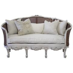 19th Century Antique French Cane Back Louis XV Style Sofa