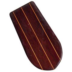 Redwood Twin-Fin Belly Board with Hardwood Stingers, circa 1950