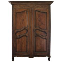 French Louis XV Carved Cherrywood Armoire