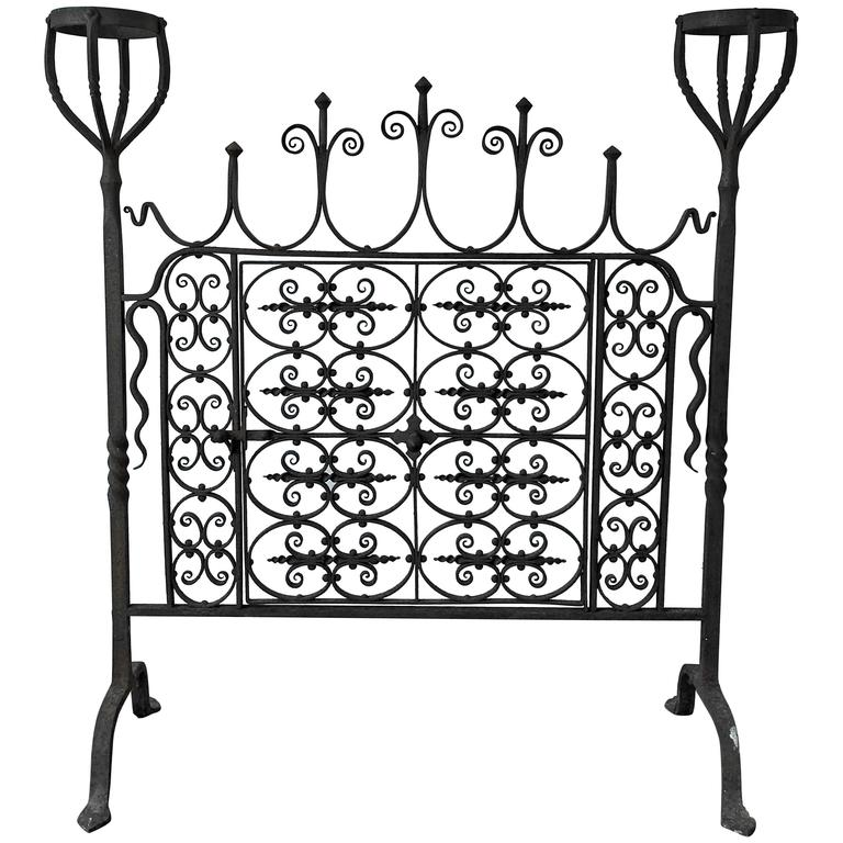 Forged Iron Fireplace Screen : Th century wrought iron hand forged fire screen for sale
