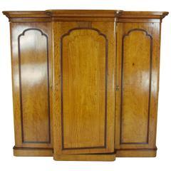 B345 Three-Door Victorian Satinwood Breakfront Armoire, Wardrobe, Closet