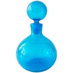Mid-Century Modern Blenko Glass Round Blue Decanter