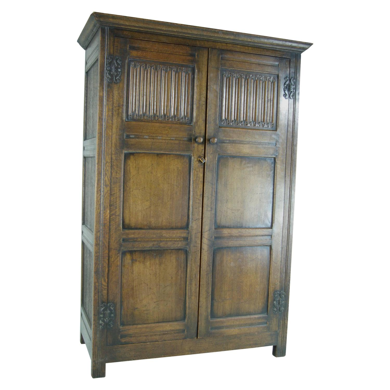 b antique scottish twodoor linen fold oak panelled armoire  - b antique scottish twodoor linen fold oak panelled armoire wardrobecloset at stdibs