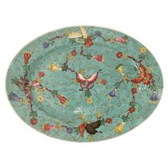 Mid-Century Chinese Famille Rose Butterfly Oval Platter