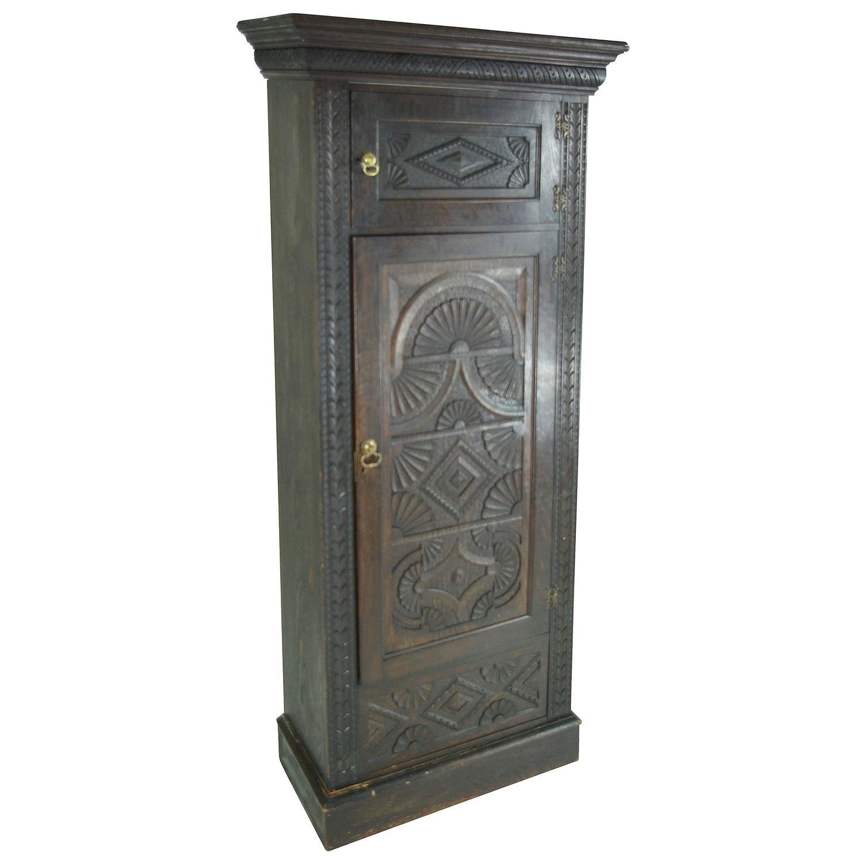 B391 Heavily Carved Victorian Oak Single Door Armoire, Wardrobe, Closet