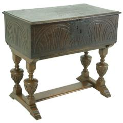 B386 18th Century Oak Bible Box with Hinged Top, Lunette Sides on Later Stand