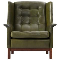 Arne Norell High Back Chair in Patinated Green Buffalo Leather