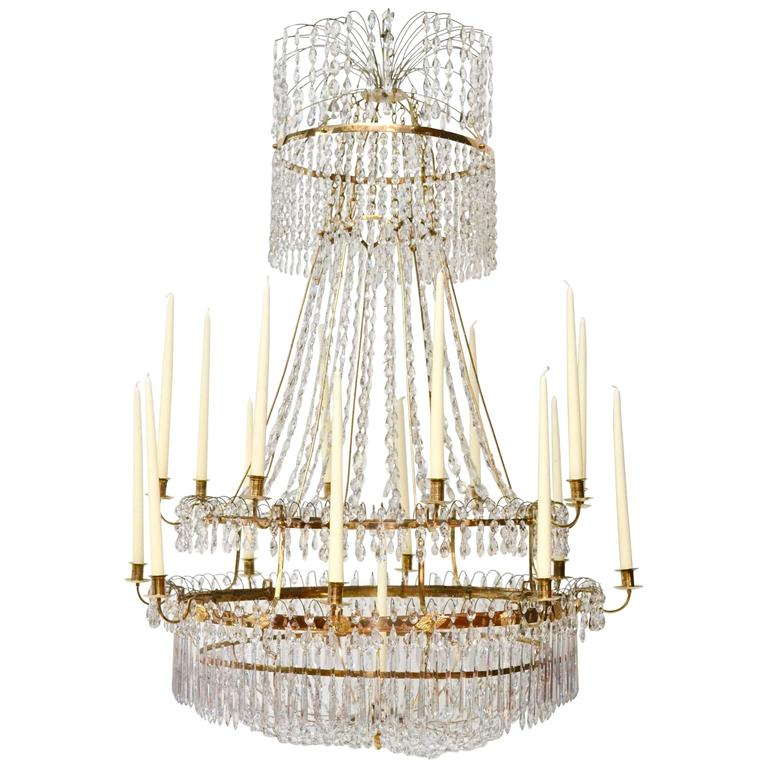 Large Swedish Gustavian Gilt Bronze and Crystal Chandelier, circa 1800